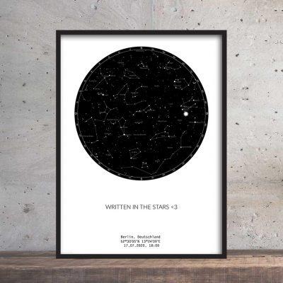 Sternenhimmel Poster Persönliche Sternenkarte Schwarz Weiss Pimavo