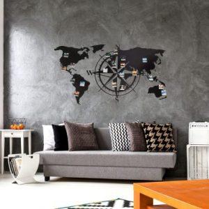 Weltkarte Metall 3d Windrose Wand Pimavo