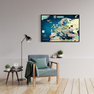 Europakarte Blau A1 Pinnwand Aluminiumrahmen Schwarz Wand