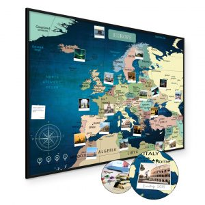 Europakarte Blau A1 Pinnwand Kork Aluminiumrahmen Schwarz