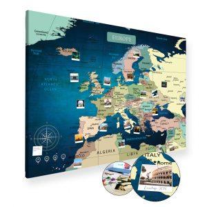 Europakarte Blau Gross XXL Pinnwand Leinwand
