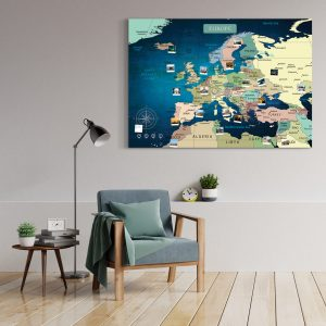 Europakarte Blau Gross XXL Pinnwand Leinwand Wand