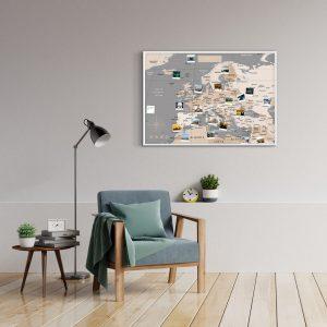 Europakarte Pastell Grau A1 Pinnwand Aluminiumrahmen Weiss Wand