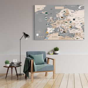 Europakarte Pastell Grau Gross XXL Pinnwand Leinwand Wand