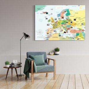 Europakarte Politisch Gross XXL Pinnwand Leinwand Wand