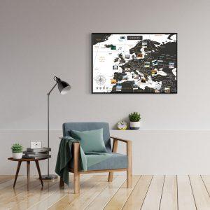 Europakarte Schwarz Weiss A1 Pinnwand Aluminiumrahmen Schwarz Wand