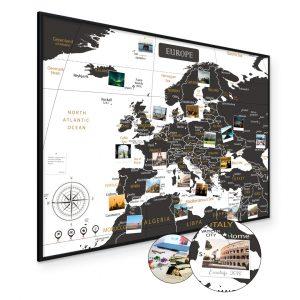 Europakarte Schwarz Weiss A1 Pinnwand Kork Aluminiumrahmen Schwarz