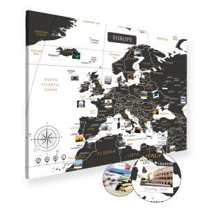 Europakarte Schwarz Weiss Gross XXL Pinnwand Leinwand