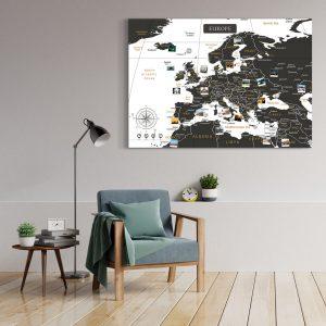 Europakarte Schwarz Weiss Gross XXL Pinnwand Leinwand Wand