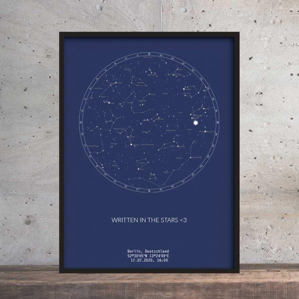 Sternenhimmel Poster Persönliche Sternenkarte Navy Blau Pimavo