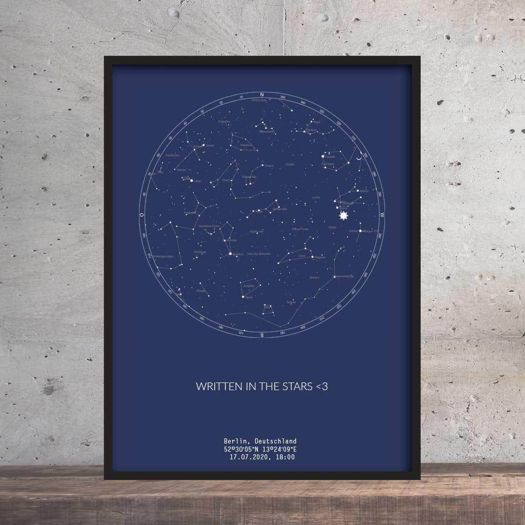 Sternenhimmel Poster   Persönliche Sternenkarte   Navy Blau
