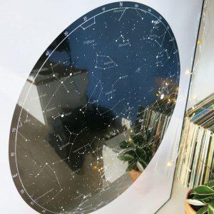 Sternenhimmel Poster Persönliche Sternenkarte Schwarz-Weiss Detail