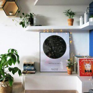 Sternenhimmel Poster Persönliche Sternenkarte Schwarz-Weiss Wand
