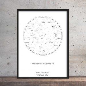 Sternenhimmel Poster Persönliche Sternenkarte Weiss-Schwarz Pimavo