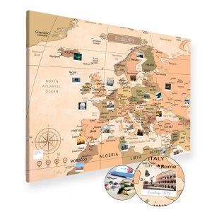Vintage Europakarte Gross XXL Pinnwand Leinwand