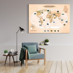 Vintage Weltkarte Gross XXL Pinnwand Leinwand Wand