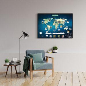 Weltkarte Blau A1 Pinnwand Aluminiumrahmen Schwarz Wand