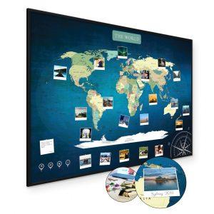 Weltkarte Blau A1 Pinnwand Kork Aluminiumrahmen Schwarz