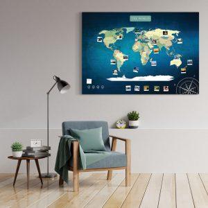 Weltkarte Blau Gross XXL Pinnwand Leinwand Wand