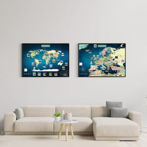 Weltkarte Europakarte Set Blau A1 Pinnwand Aluminiumrahmen Schwarz Wand