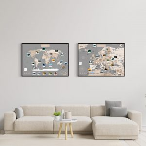 Weltkarte Europakarte Set Pastell Grau A1 Pinnwand Aluminiumrahmen Schwarz Wand