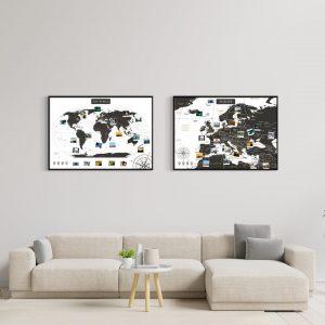 Weltkarte Europakarte Set Schwarz Weiss A1 Pinnwand Aluminiumrahmen Schwarz Wand