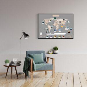 Weltkarte Pastell Grau A1 Pinnwand Aluminiumrahmen Schwarz Wand