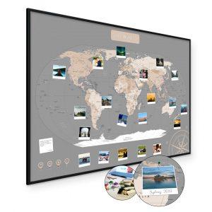 Weltkarte Pastell Grau A1 Pinnwand Kork Aluminiumrahmen Schwarz