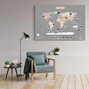 Weltkarte Pastell Grau Gross XXL Pinnwand Leinwand Wand
