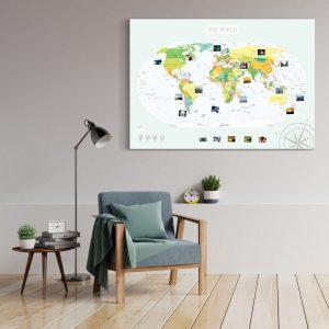 Weltkarte Politisch Gross XXL Pinnwand Leinwand Wand