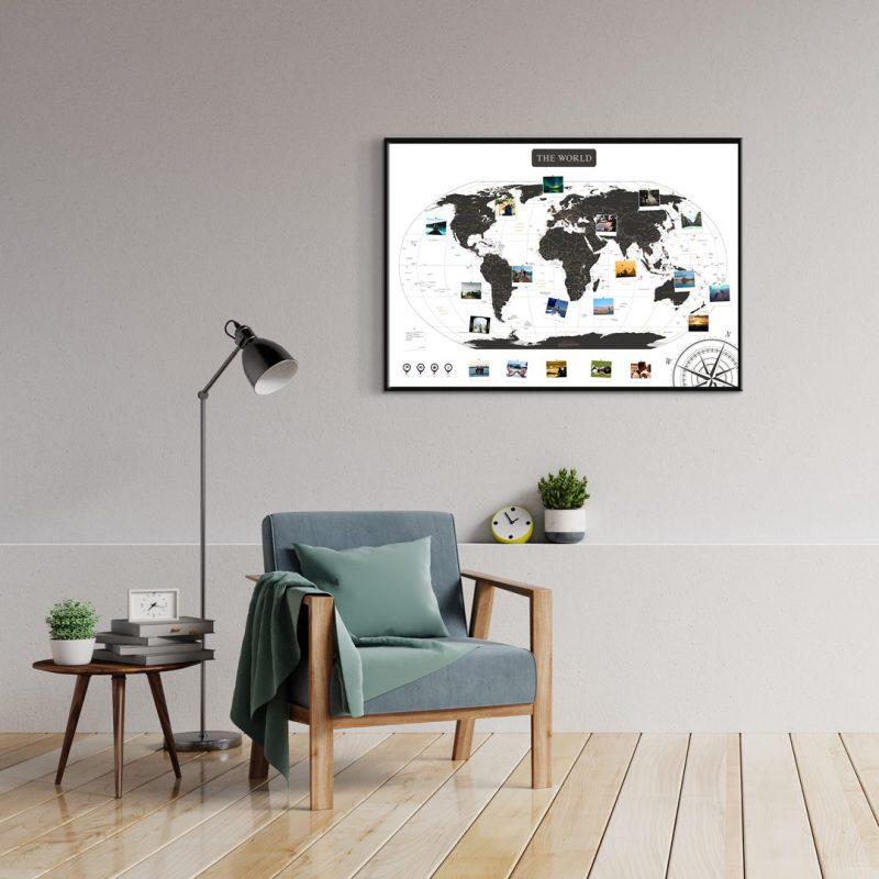 Weltkarte Schwarz Weiss A1 Pinnwand Aluminiumrahmen Schwarz Wand