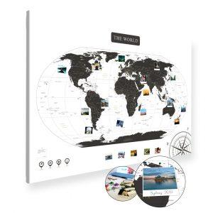 Weltkarte Schwarz Weiss Gross XXL Pinnwand Leinwand