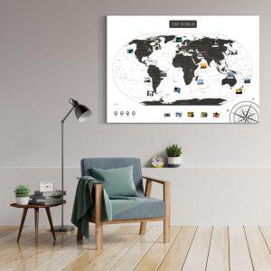 Weltkarte Schwarz Weiss Gross XXL Pinnwand Leinwand Wand